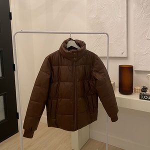 Brand new brown leather jacket.